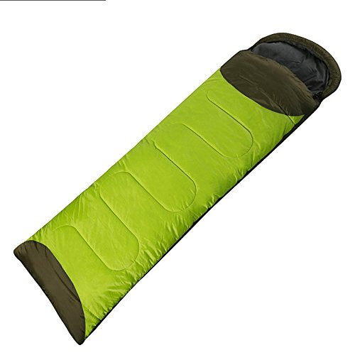 QFFL shuidai Enveloppe Sac de Couchage/Splicable / Outdoor Camping Randonnée Outdoor Rectangulaire Unique Sac de Couchage en Coton (190 + 30) * 72cm (Couleur : Green-Left)