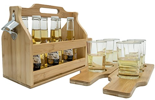 Sorbus Wooden Bottle Caddy with Opener & Sampler Boards