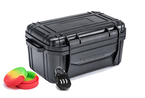 Herb Lab Smell Proof Container - The Stash Box - Airtight/Discreet/Lockable Security Lid - Odor Lock System Keeps Your Smoking Accessories Hidden and Secure When Traveling. Mini Stash Case Included!