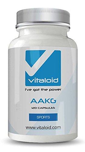 Vitaloid AAKG 1000mg - 120 Kapseln - Optimal für Muskelaufbau Pre-Workout & zur Verbesserung der Durchblutung - L-Arginin Kapseln Hochdosiert - Arginin Alpha Ketoglutarat - Pump Supplement