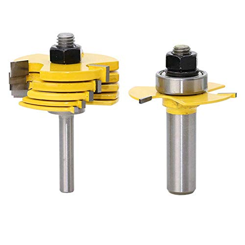 1/2 Inch Shank Slot Cutter Router Bit Set Adjustable 3 Wing Slot Cutting Bit with 6 Pieces Slotting Cutters, 1/2 Inch Cutting Depth & 6 Different Cutting Widths