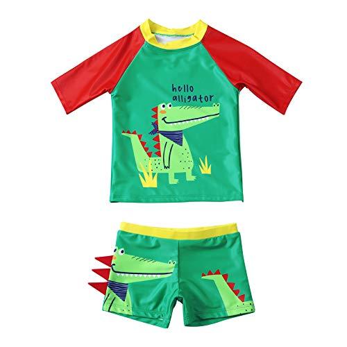 Maillots de Bain pour Garçons Deux Pièces Anti-UV Ensemble T-Shirt à Manches Courtes + Shorts pour Enfants Garçon 2-8 Ans Séchage Rapide (Crocodile Vert, 3-4 Ans)