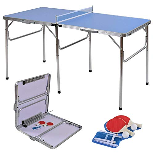 Lowest Price! Picotech 60 inches Ping Pong Table Tennis with Accessories Blue Durable Sturdy Heavy D...