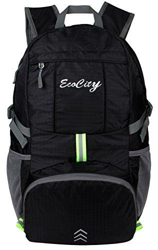 EcoCity Ultra-light 30L ripstop impermeabile pieghevole Trekking Daypacks Viaggi Zaino di campeggio Escursionismo Alpinismo con sistema di idratazione, Nero