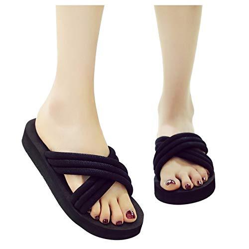 Chanclas para Mujer Zapatillas de Playa Antideslizantes para Exteriores de casa de Verano Correas Cruzadas Nuevas Zapatillas de Moda 37-41 (3/5,5 CM)