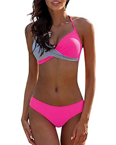 Voqeen Traje De Baño Mujer Sexy Bañador de Baño Cuello Halter Conjunto de Bikini Push up Sujetador Acolchado Traje de baño Bikini para Mujeres (A, L)