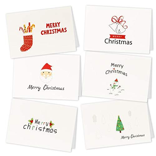 HOWAF 36pcs Navidad Tarjetas de Felicitación con Sobres Doblada Simple Elegante para Regalo Caja Navidad Invitaciones felicitaciones 6 Modelos