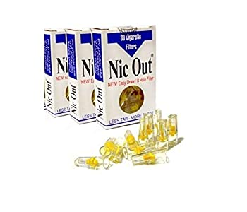 Nic-Out Cigarette Filters 3 Packs  90 Filters  Smoking Free Tar & Nicotine Disposable Nicout Holders for Smokers DON T QUIT SMOKING Nicfree
