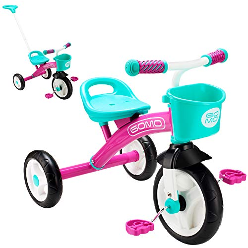 GOMO Kids Tricycles for 2 Year Olds, 3 Year Olds & Kids 1-6, Big Wheels Baby Bike Toddler Bikes - Trikes for Toddlers with Push Handle (Pink/Teal)