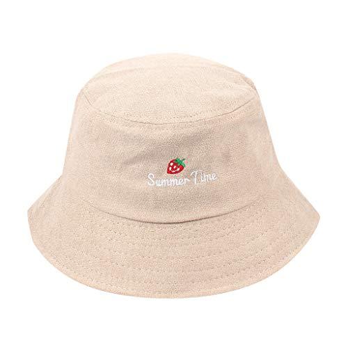 Yvelands Mujeres Adultas Liquidación Hombres Paja de Fresa Pescador Sombrero Protector Solar Aire Libre Gorra (Beige,Un tamaño)