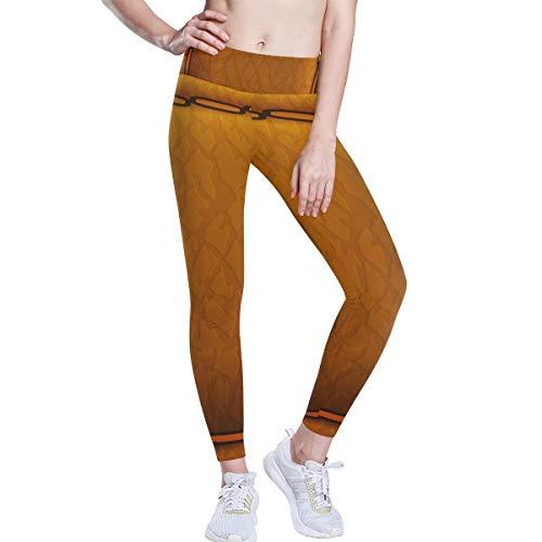 DEZIRO hoge taille yoga broek goud leer kussen schilderij patroon yoga broek met tummy controle, 4 manieren stretchtraining hardlopen yoga legging