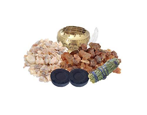 Zen House Kit de bendición – Limpia tu hogar de energía Negativa – Salvia – Incienso Crudo y Mirra – carbón – Quemador de carbón – Instrucciones – Pluma Blanca – Crear energía Positiva