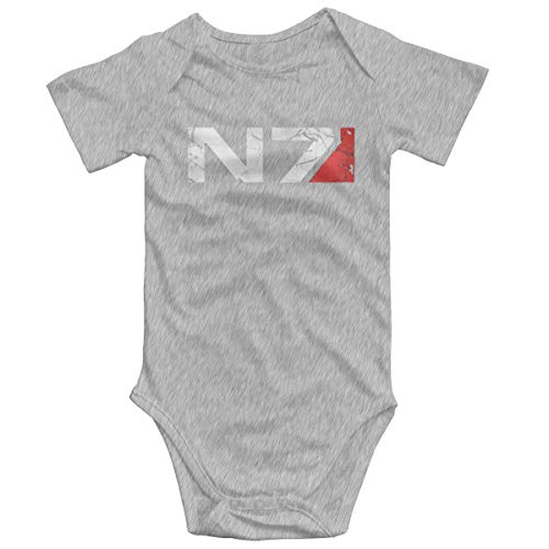 NOT Soft Cotton Baby Climbing Clothes,Mass Effect Flag. Cute Short Sleeved for 0-24 Months Baby Gray