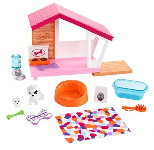 Barbie Set di Arredamenti da Interno, con Casetta Include Cuccia, Mamma con Cucciolo e Accessori a Tema, Bambola Non Inclusa, Giocattolo per Bambini 3 + Anni, FXG34