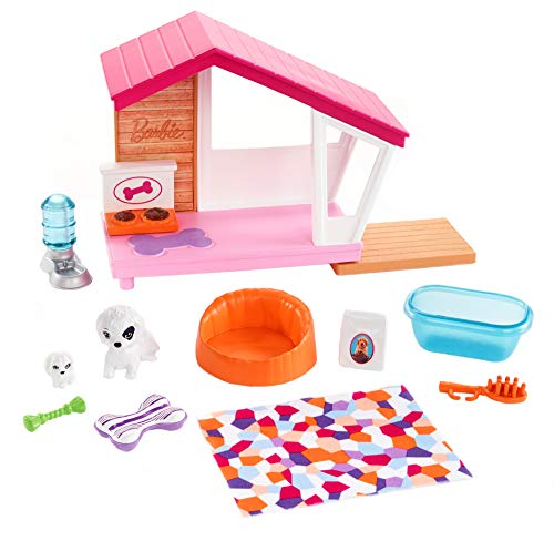 Barbie Indoor Furniture Playset, Puppy Playhouse Includes Doghouse, Mommy Dog, Puppy and Pet-Themed Accessories