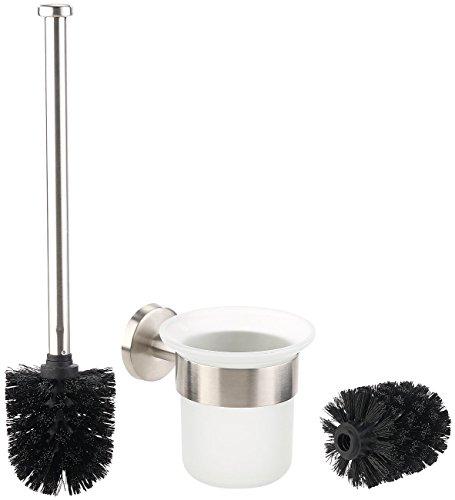 BadeStern Toilettenbürstengarnitur: Edelstahl/Glas-WC-Garnitur, Wandmontage, 2 Bürsten-Aufsätze, schwarz (Set mit Toilettenbürste aus Edelstahl)