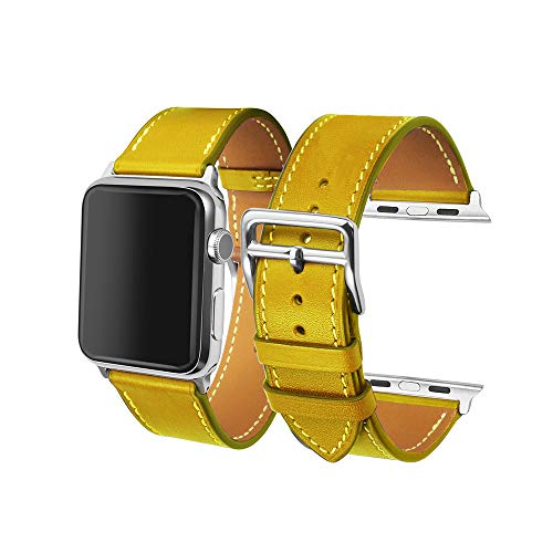 CAILIN Band iWatch Series 1 Series 2Series 3, Luxury Genuine Leather Smart Watch Band Strap Single Tour Replacement (Yellow)