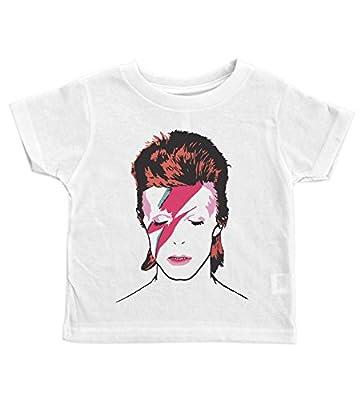 Baffle David Bowie Crew Neck Toddler Tee/Bowie/Ziggy Stardust / 70's Glam (2T, White)
