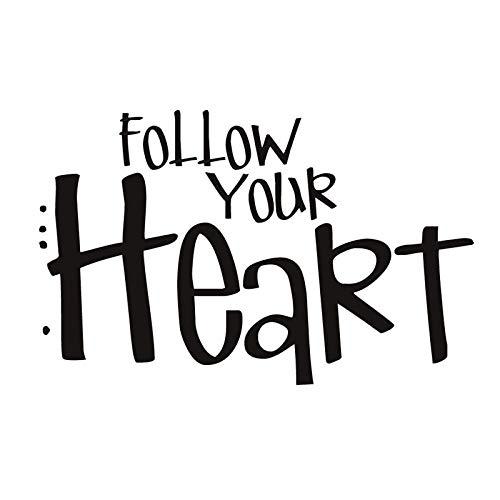 Folgen Sie Ihrem Herzen Applikation Vinyl Schriftzug Abnehmbare Diy Whiteboard Home Dekoration Einfache Wandaufkleber Wohnzimmer 56X37Cm