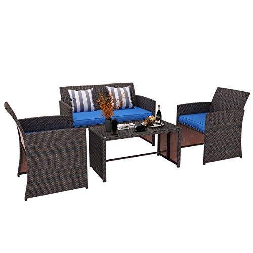 YITAHOME 4 Piece Patio Furniture Sets, Outdoor All-Weather Sectional Sofa Manual Weaving Wicker Rattan Small Patio Conversation Sets for Garden Poolside Porch Backyard Lawn Balcony, Brown