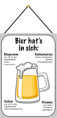 NWFS Bier hat´s in Sich Nährwerte von Bier Blechschild Metallschild Schild Metal Tin Sign gewölbt lackiert 20 x 30 mit Kordel