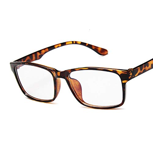 NJJX Gafas Pequeñas De Moda Con Montura De Gafas Cuadradas Vintage Para Mujer, Gafas Transparentes, Lentes Ópticas Transparentes, Gafas Leopardtrans