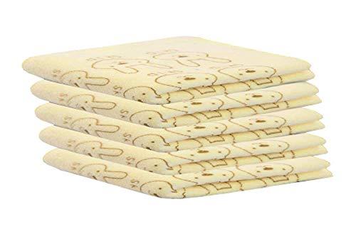Toalla - Mantel de baño - Niños - Microfibra - Paquete de 5 unidades - Color amarillo - Medida 24 x 24 cm - Idea regalo para Navidad y cumpleaños