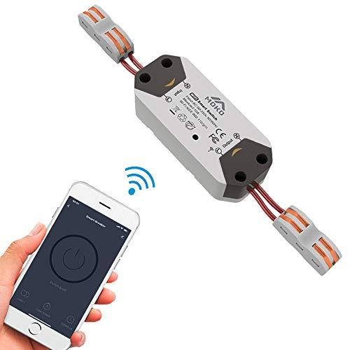MoKo Smart WiFi Light Switch Módulo de Interruptor de relé inalámbrico Control Remoto Temporizadores de automatización del hogar, Compatible con Alexa, Google Home y IFTTT, 10A - Gris