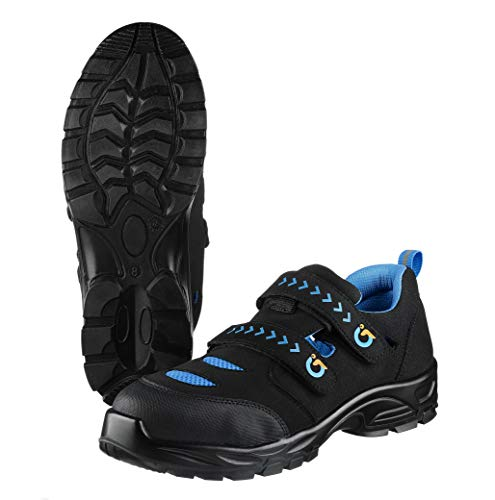 TMG® rutschfeste Arbeitsschuhe für Herren S1P   Klettverschluss   Schwarz/Blau   Größe 38-47   Männer Sicherheitsschuhe mit Komposit-Zehenschutzkappe   Schutzklasse S1P 43