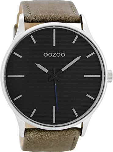 Oozoo Herren Digital Quarz Uhr mit Leder Armband C8551