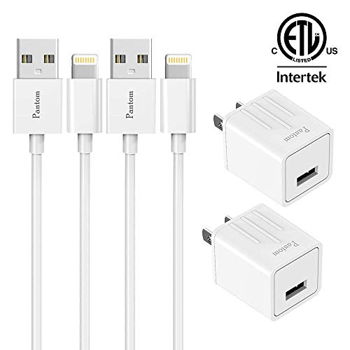 Pantom 2-Pack Wall Charger Adapter Plugs with 2-Pack 5-FeetLightning Cables Charge Sync Compatible with iPhones and iPads (White)