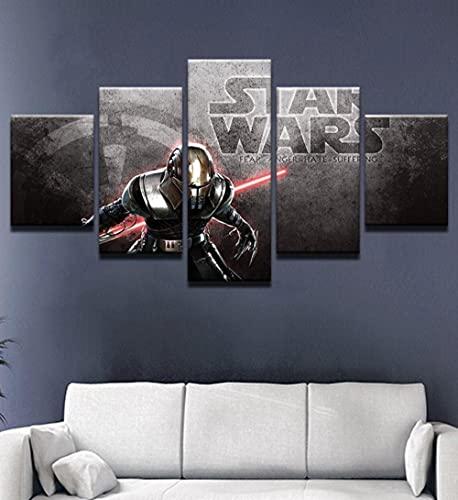 WKXZZS Cuadros Decoracion Dormitorios 5 Piezas 150x80cm - Cuadro sobre Lienzo - Impresión En Lienzo Montado sobre Marco De Madera - Stormtrooper Darth Vader Sith Force