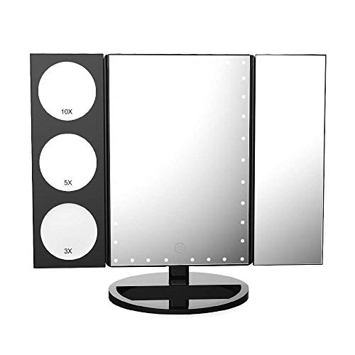 Easehold 35 LED Lighted Vanity Makeup Mirror Tri-Fold with 3X 5X 10X Magnifiers 360 Degree Free Rotation Countertop Bathroom Cosmetic Mirror (Black)