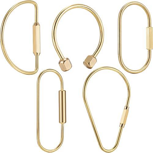 5 Pieces Brass Screw Lock Keychain Simple Brass Key Chain Ellipse Shape Key Ring Brass Lock Clip Key Holders for Men Women