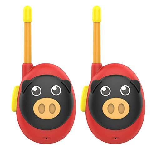 nakw88 Walkie Talkie 1 par P15 Animal Pig Niños Regalo Escuela Kindergarten Sonido Claro Pequeño Ligero Alimentado por batería Niños pequeños Juguete Hogar Inteligente(Rojo)