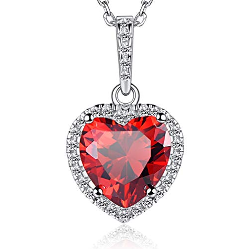 FaithHeart S925 Sterling Silver Birthstone Necklace for Women Guardian Angel January Birthday Jewellery Birth Stone Gift Teen Girls Accessories