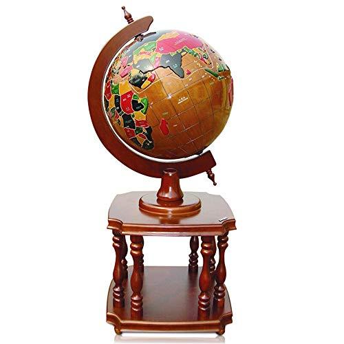 Deko Globus Weltkugel Weltkugel 3D Geprägte Massivholz-Globe Earth Globe for Educational Geographic Boden Desktop Home Decoration für Kinder HauptDécor und Office Desktop