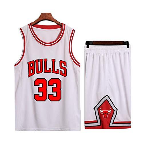 MMK Bulls Jersey # 33 Pippen klassisch Retro Basketball Kleider einstellen Herren Trikots Weste (Color : White, Size : 34)