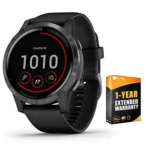 Garmin 010-02174-11 Vivoactive 4 Smartwatch Black/Stainless Bundle w 1 Year Extended Warranty