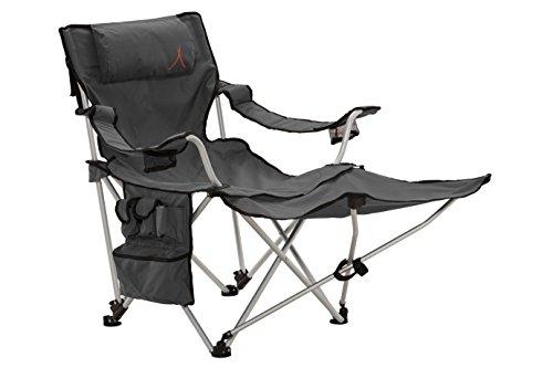 Grand Canyon Giga - Sedia pieghevole da campeggio in alluminio con poggiapiedi, grigio/nero, 308019