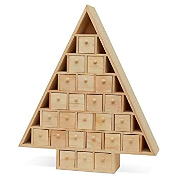 Wooden Advent Calendar Empty DIY-Pre Assembled Empty Drawers Refillable Unfinished 15 Inch x 13 Inch by Woodpeckers