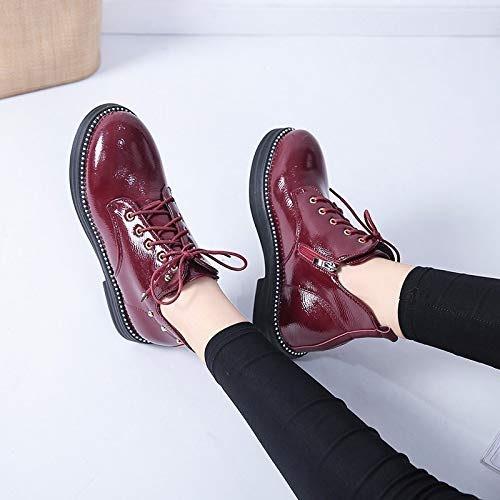 Shukun Bottes Martin Bottes Femme Cuir Verni Petites Chaussures Etudiants Chaussures à Semelle épaisse Sauvage