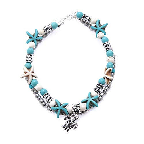 Tobillera con cuentas de concha de yoga y tortuga pulsera de playa colgante de estrellas de mar de perlas vintage tortuga tobillera regalo de San Valentín