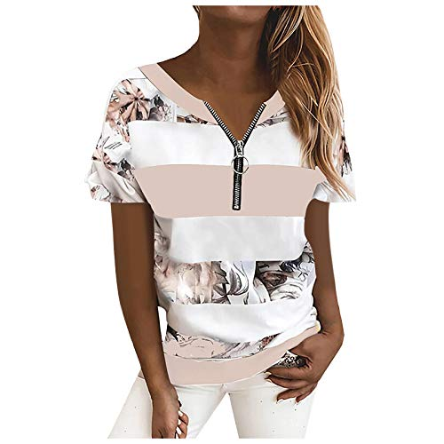 T-Shirt Damen Sommer Oberteile Kurzarm Tee Tops T-Shirt Bluse Pullover Frauen gestreifte Leoparden Nähte Reißverschluss Kurzarm Tops (M,2rosa)