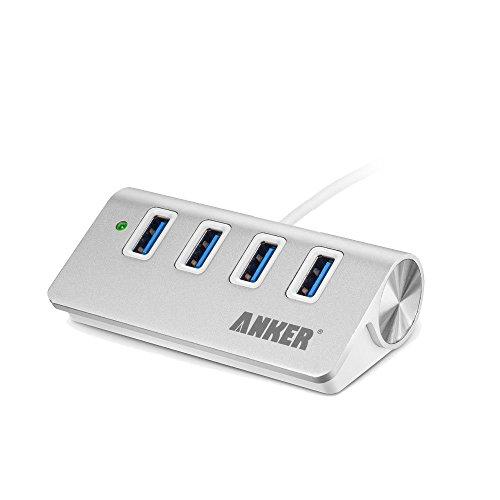Anker USB 3.0 高速4ポートハブ 一体型ケーブル アルミ製 USB 2.0 (シルバー)