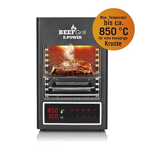GOURMETmaxx Beef Maker 08681 | Elektrischer Oberhitze-Grill, 850 °C | LED-Display, Temperaturanzeige, Timer, 5 Gar-Programme, 1600 Watt | Indoor & Outdoor | Zum Anschluss an Steckdose, grau