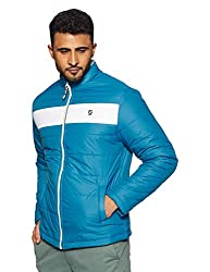 House & Shields Clothing Co. Mens Quilted Jacket (AW18-ID-AW06a_Denim & White_Xx-Large)