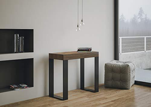 Itamoby Tecno 90cm Consola Extensible, Paneles de ennoblecido, Nogal/Antracita, L.90 x P.40 x H.77