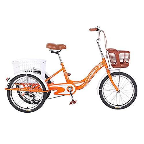 Triciclo Adulto con Una Canasta Grande, Adecuada para Ocio, Tiendas, Ejercicio para Hombres Y Bicicletas De Crucero para Mujeres (Color : Orange)