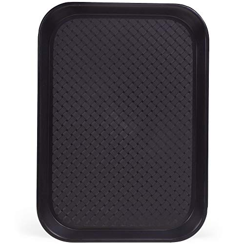 Fast Food Cafeteria Tray | 10 x 14 Rectangular Textured Plastic Food Serving TV Tray | School Lunch, Diner, Commercial Kitchen Restaurant Equipment (Black)